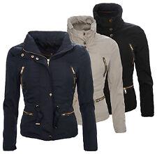 Damen Jacke Windbreaker Damenjacke Übergangsjacke Kapuze S-XL Beige Blau D50 NEU