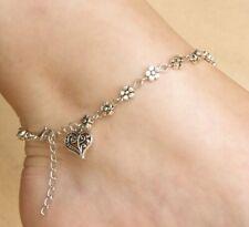 Tibetan Anklet Ankle Daisy Chain Silver Heart Beach Sea Bracelet Bohemian Foot