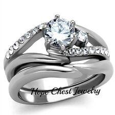Cz Engagement Wedding Ring Set Sz 5-10 Women'S Stainless Steel 0.75 Ct Round Cut