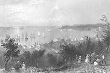 NEW YORK CITY BAY, Staten Island ~ Old Antique 1838 Bartlett Art Print Engraving