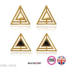 NEW Geometric Gold Hollow Pyramid Earrings Womens Ladies Jade Gem Luxury UK P&P
