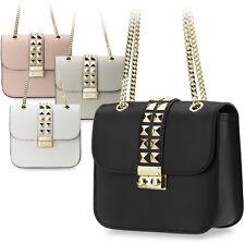 kleine originelle Damentasche Clutch - Tasche mit Nieten und Kettenriemen Leder