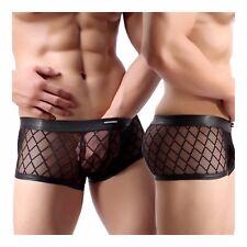 Sexy Men's Lingerie Diamond Mesh Fishnet Perspective Briefs Thong Shorts Black