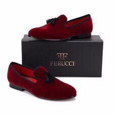 Men FERUCCI Burgundy Velvet Slippers Loafers Flat With Black Tassel