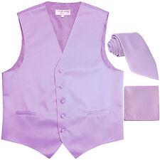 New Men's lavender formal vest Tuxedo Waistcoat_necktie & hankie set prom