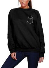 Ghost Pocket Logo - Cute Halloween Witch Goth Youth & Womens Sweatshirt