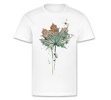 Herren T-Shirt weiß Motiv Ahorn aus Caro Art Aquarelle Grün Rot Cool