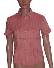 NEW! Grrl West Surfing Coral Pink Stripe Short Sleeve Shirt Blouse Size 12