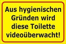 Schild Videoüberwachung WC FUN 15x20, 30x20, 40x30 Alu Toilettenschild 00  S0094
