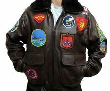 Men's Top Gun A2 Tom Cruise Jet Fighter Brown Bomber Biker Leather Jacket