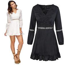 Elegantes Damen Sommerkleid Midikleid Rock V-Ausschnitt Damenkleid D-324 NEU