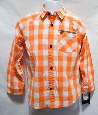 Hurley Skate Surf Boys Kids Button Down Orange Plaid poplin shirt 4 6 7  NEW