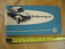VOLKSWAGON 1958  DISTRIBUTORS & DEALERS CANADA  USA  MEXICO ORIG. EXTRAORDINARY