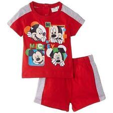 DISNEY BABY ensemble MICKEY t-shirt + short 6 12 18 ou 23 mois rouge gris NEUF