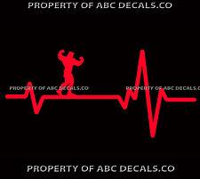VRS HEART BEAT LINE MUSCLE MAN Flexing Bodybuilding Fitness Guy CAR VINYL DECAL