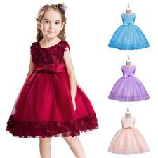 Toddler Girls Kids Bridesmaid Dress Tulle Brithday Flower Bow Party Tutu Dresses