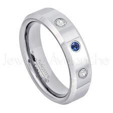 0.21ctw Sapphire & Diamond Ring, September Birthstone, 6mm Tungsten Ring #048
