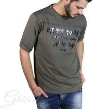 T-Shirt Uomo Girocollo Manica Corta Casual Due Colori Tinta Unita Scritta GIOSAL