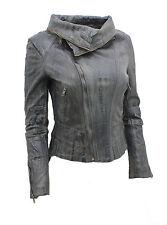 Ladies Short Retro Grey Removable Zip Neck Leather Biker Jacket
