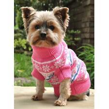 Doggie Design Combed Cotton Snowflake and Hearts Dog Sweater Pink Sizes XXS-XXXL