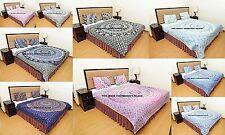 Indian Mandala Quilt Kantha Blanket Reversible Boho Queen Bedspread Bedding