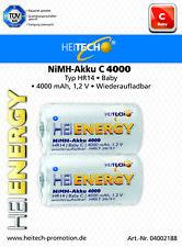 Heitech batterie accu HR14 BÉBÉ C HR20 Mono D 4000mAh 1,2V Volt Jeu de 2 BLISTER