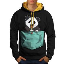 Wellcoda Cute Lil Panda Mens Contrast Hoodie, Pocket Bear Casual Jumper