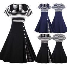 AU Plus Size Women 50s Vintage Striped Rockabilly Ladies Party Button Midi Dress