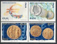 2002 ITALIA DITTICO MONETA UNICA EUROPEA MNH **