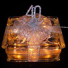 40th Wedding Anniversary Glass Block Light 40 Year Anniversary or Birthday Gift!