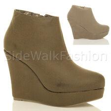 Para Mujeres Damas Con Plataforma Taco Alto de Cuña Cremallera Tobillo Botas Botines Zapatos Talla