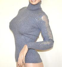 MAGLIONE GRIGIO collo alto donna maglietta manica ricamata sottogiacca strass G3