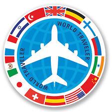 2 X Viajero Mundial pegatina de vinilo Ipad Laptop avión vacaciones Banderas Regalo Divertido # 4348