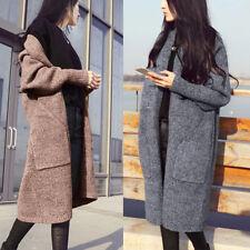 Women's Windbreaker Outwear Fashion Warm Wool Slim Long Coat Jacket Trench Parka