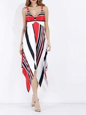 Elegante raffinato vestito abito donna asimmetrico rosso scollato morbido  3695 d4ee4cfb9fd