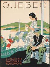 Vintage nacional canadiense ferrocarriles Quebec Turismo cartel A3 impresión