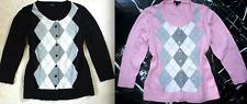 TALBOTS Black Pink Gray ARGYLE 3/4 Sleeve Cardigan Sweater S & P