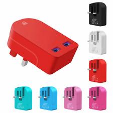 3 pin Travel Mini 3AMP Universal 2 Port Dual USB Plug Wall Adapter FAST CHARGING