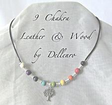 ✫ 9 Chakra ✫ Cuero Y Madera De Collar con encanto de su elección