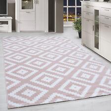 Kurzflor Teppich Antikes Karo Muster Rosa Weiss Meliert Wohnzimmerteppich