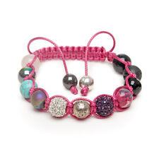 Shamballa Gemstone Bracelet Rose Quartz Turquoise Onyx Black Lava Pave Crystal