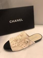 05166030a92 CHANEL 17C Crochet Knit Camellia Flower Flat Mules Sandal Shoes Beige Black   850