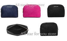 Michael Kors Medium Travel Pouch Bag METALLIC Leather Zip Around Cosmetic Pouch