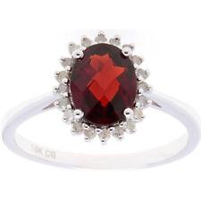 10k White Gold 1/7ct TDW Diamond Halo and Semi Precious Gemstone Ring