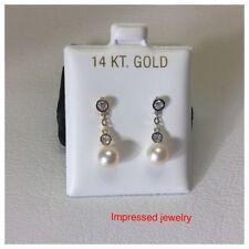 14K Yellow/White Gold Fresh Water Pearl Hanging drop Screw Back Stud Earrings