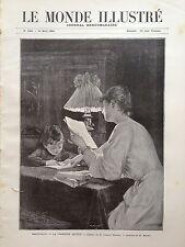 """LE MONDE ILLUSTRE 1892 N 1824 BEAUX-ART """" LA PREMIERE DICTEE """"par CHARLES DURAND"""