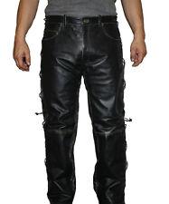 Men's Leather 5 Pockets Jeans Black Color Side Lace Cow hide Pants Style #416