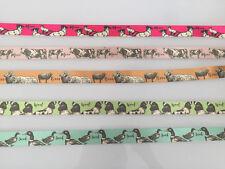 BERISFORDS FARM ANIMALS SATIN RIBBON - 25mm - DOG / CAT / COW / DUCK / SHEEP