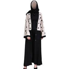 Muslim Cardigans Robe Spleißen Applique Abaya Pakistan Dubai Kleid mit Gürtel