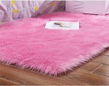 NonSlip Sheepskin Fur Rug Plain Soft Carpet Chair Seat Cover Fluffy Mat Red Rose